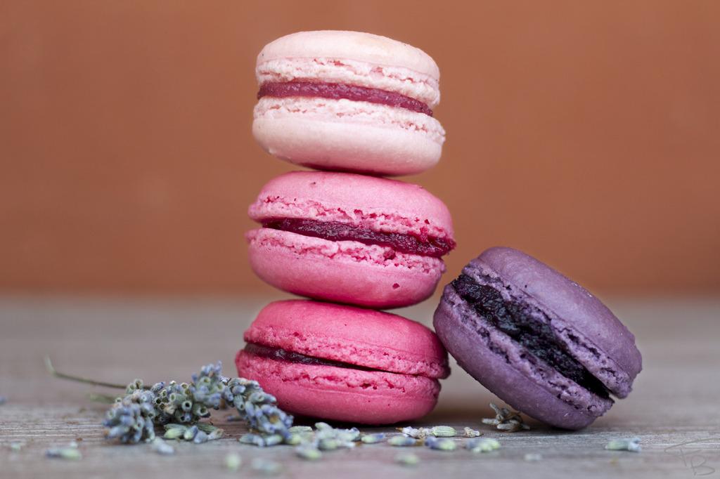 macarons impilati uno sopra l'altro tutti con diverse sfumature del rosa. Dal rosa pallido al viola. Con piccoli semi di lavanda sparsi sulla tavola di legno grigio. lo sfondo rosso mattone.