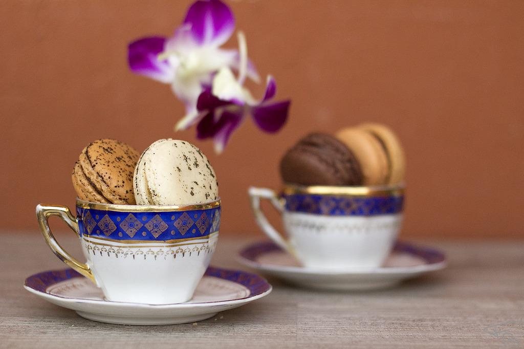 tazzine di caffe' ripiene di macaron, dei fiori viola di orchidea galleggiano delicatamente sullo sfondo della foto color rosso mattone