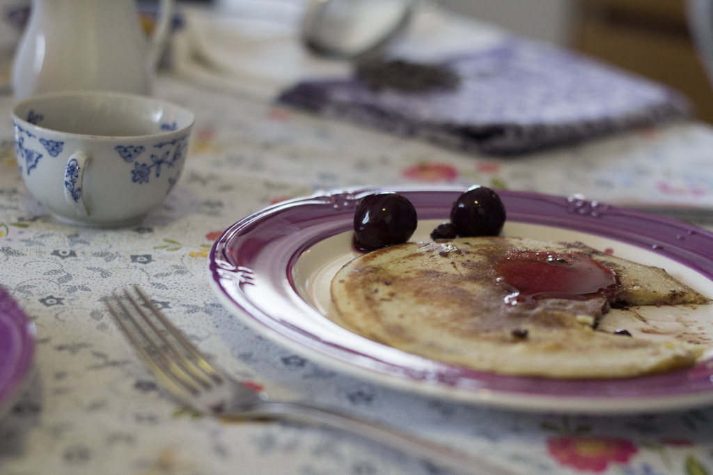 pancakes con ciliegie sotto spirito