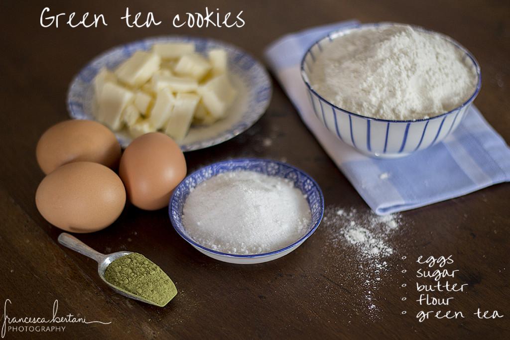 ingredienti per preparare i biscotti al tè matcha
